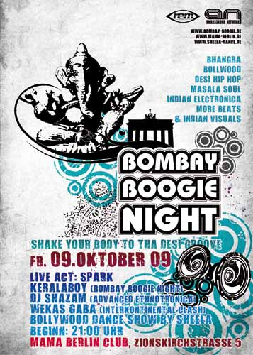Flyer 2009-10-09: Spark* live & Bombay Boogie Night